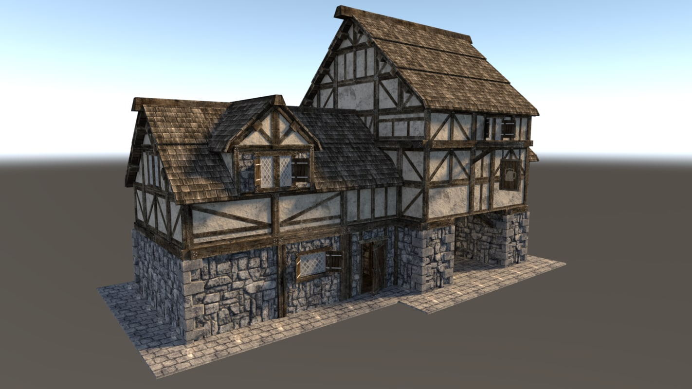 3d medieval city house model