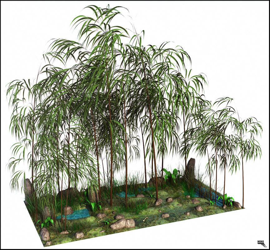 bambu tree landscape obj