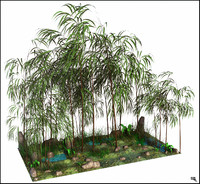 3d jungle bambu cartoon model