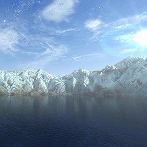 mountain range lake landscape 3d model