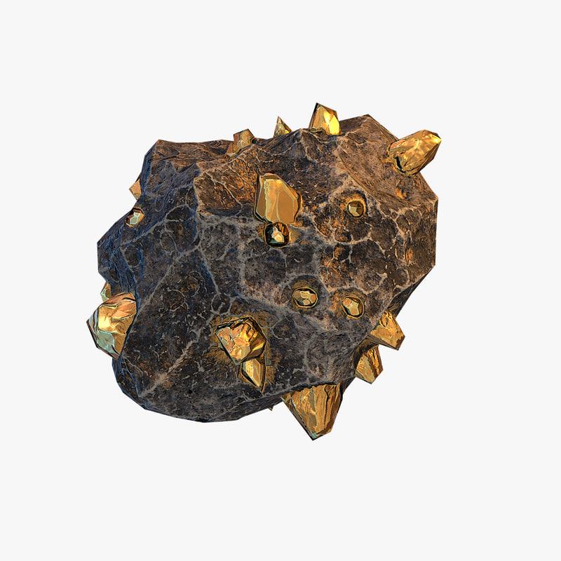 3d meteor ore gold model
