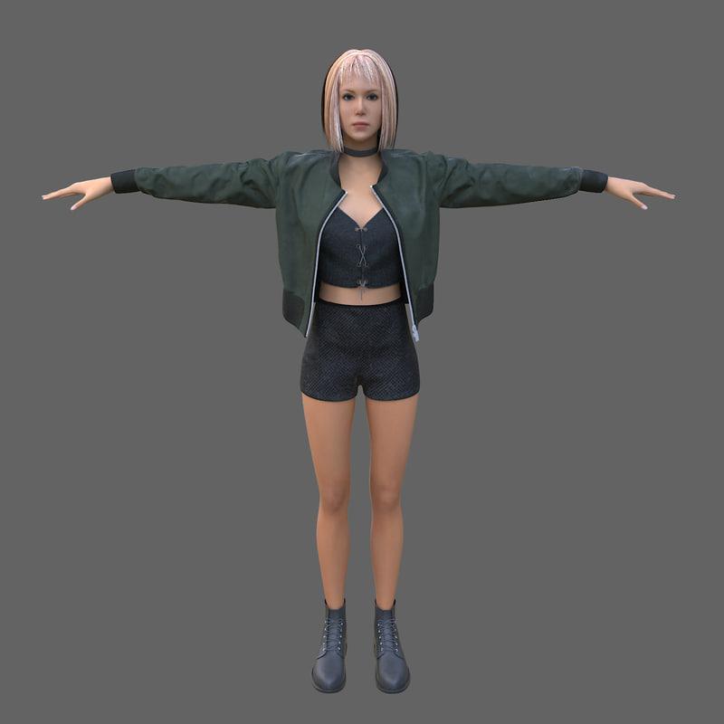 3d model girl blonde