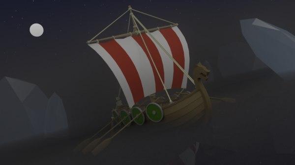 stylized longboat boat 3d obj