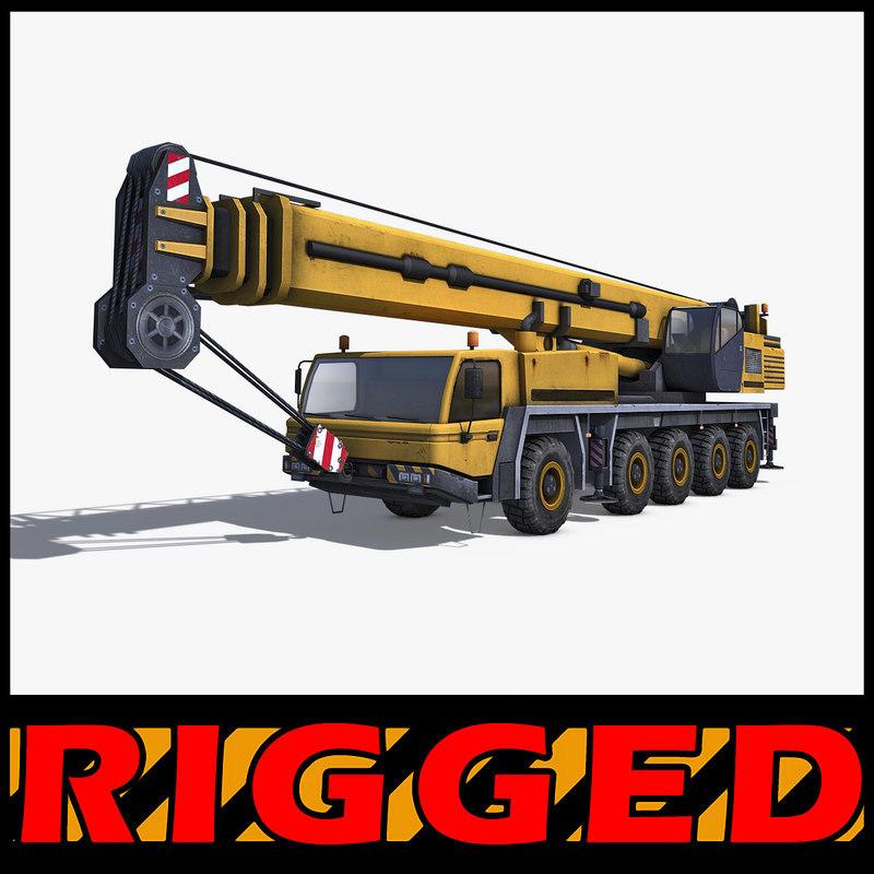 mobile crane rigged industrial 3d model