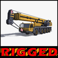mobile crane rigged industrial 3d c4d