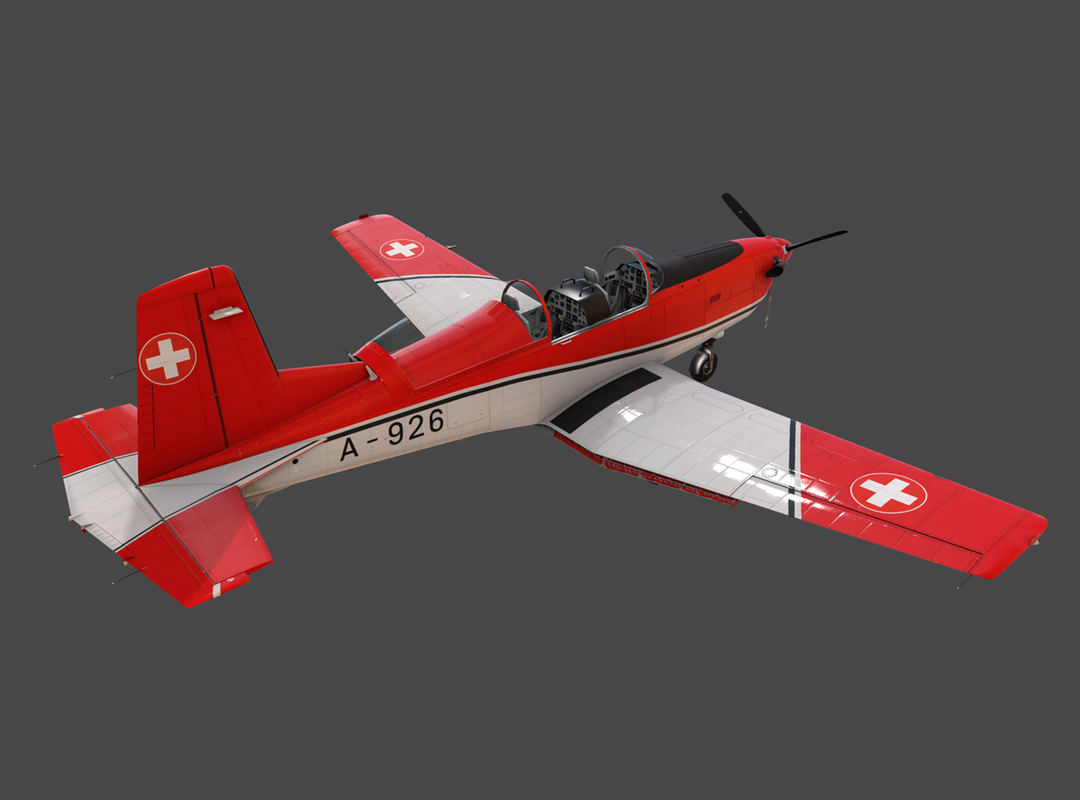 3d low-poly pilatus pc-7 mk-i