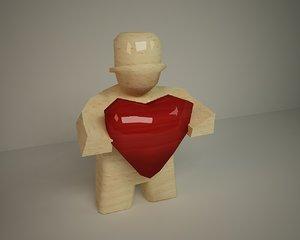 3d wooden figure model