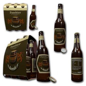 3d cardboard beer sixpack model