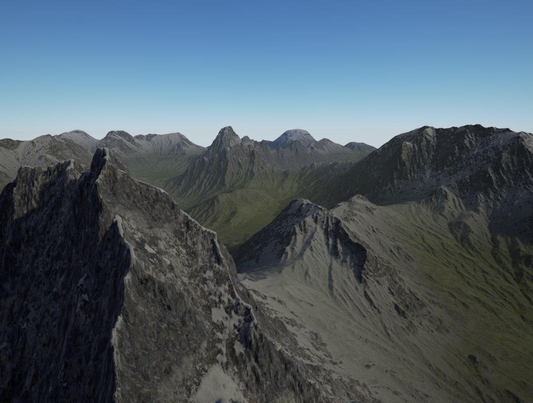 mountain terrain 3d obj