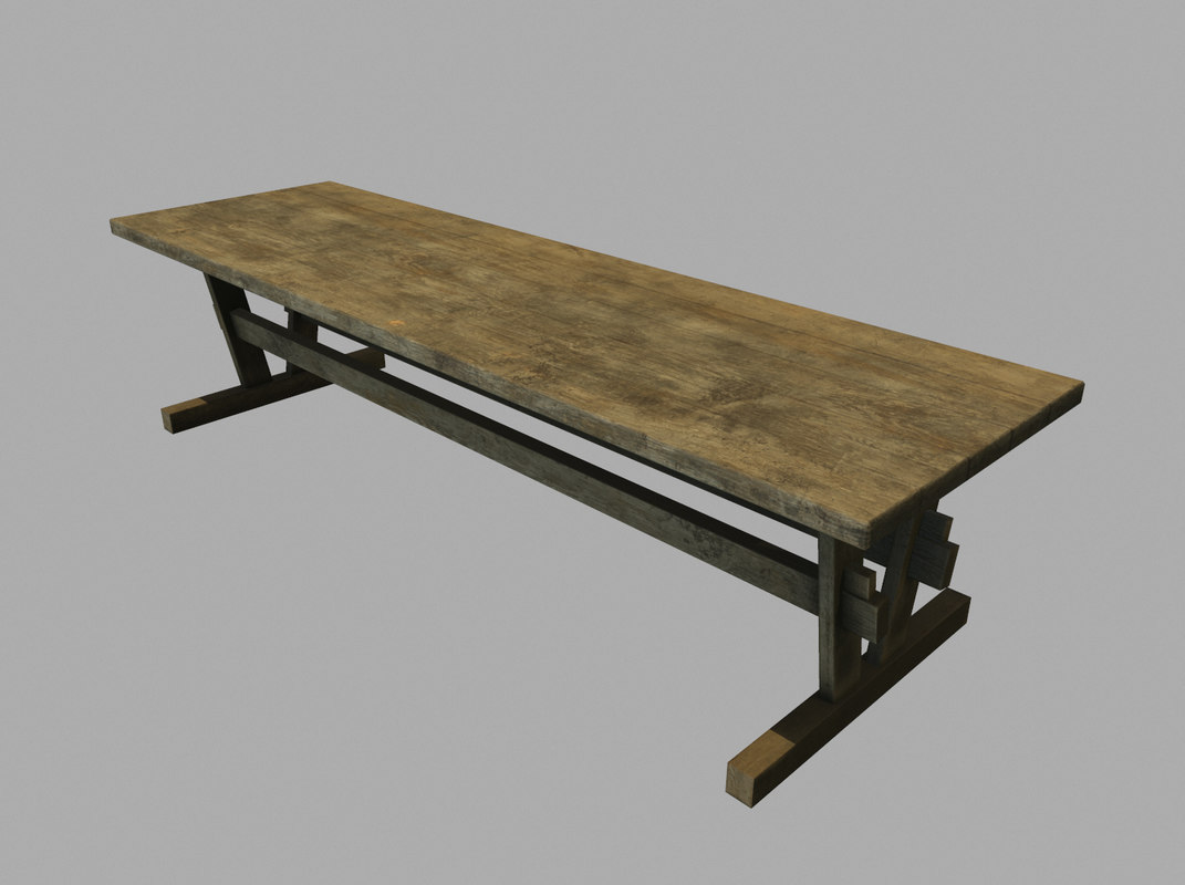 3d model of old wooden table