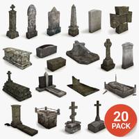 Lowpoly Gravestone 20 Pack