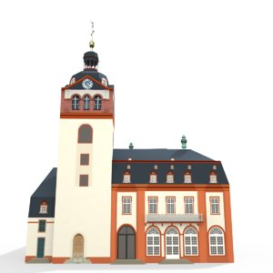 free obj model castle church weilburg -