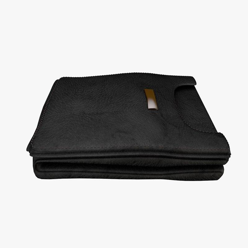 black leather wallet 3d c4d