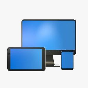 3d model tablet phone desktop