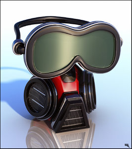 3d model gas mask cartoon