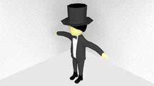 3d rigged magician model