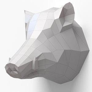 3d paper boar head model