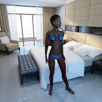 3d max rigged black female figure