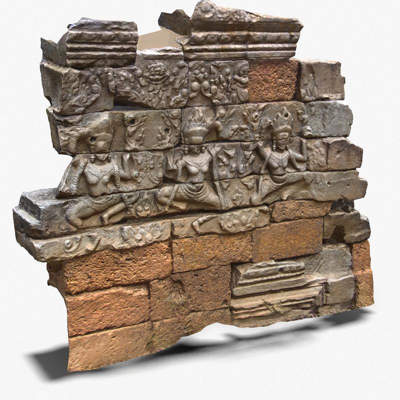3d ankor wat wall fragment