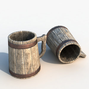 ready wooden cup 3d max