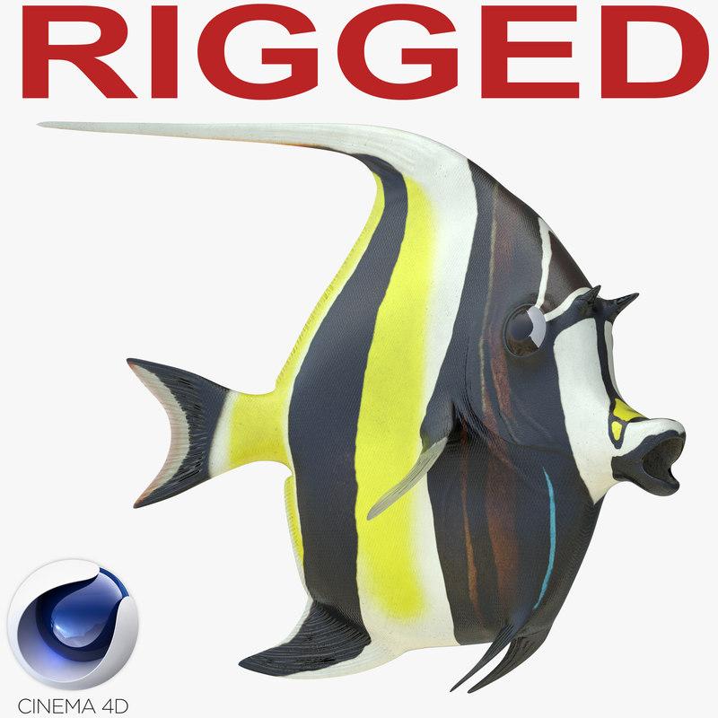 c4d moorish idol fish rigged
