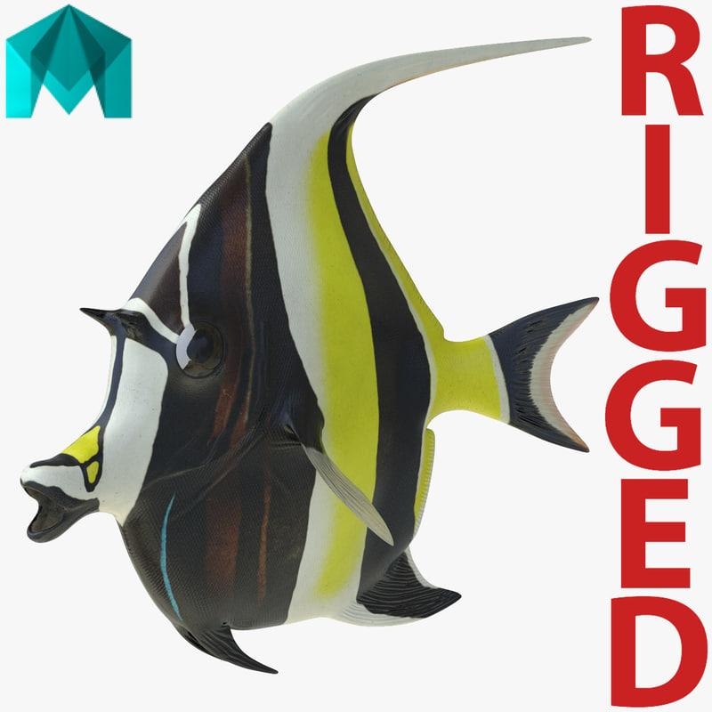 moorish idol fish rigged 3d model