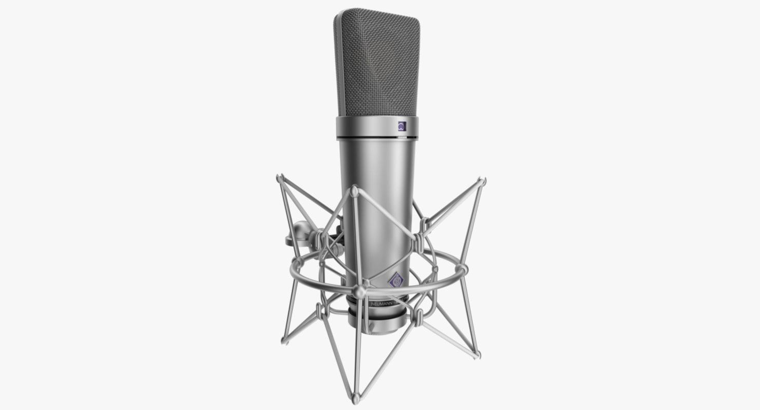3d model rigged microphone neumann u87