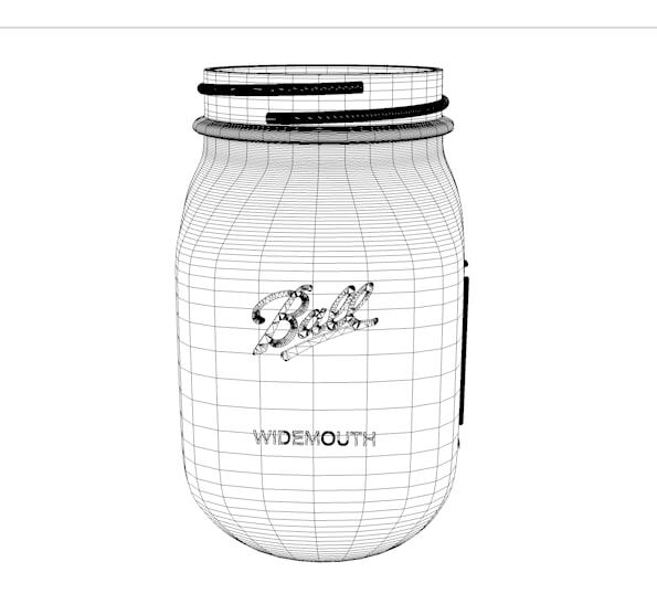 3d ball jar mason model