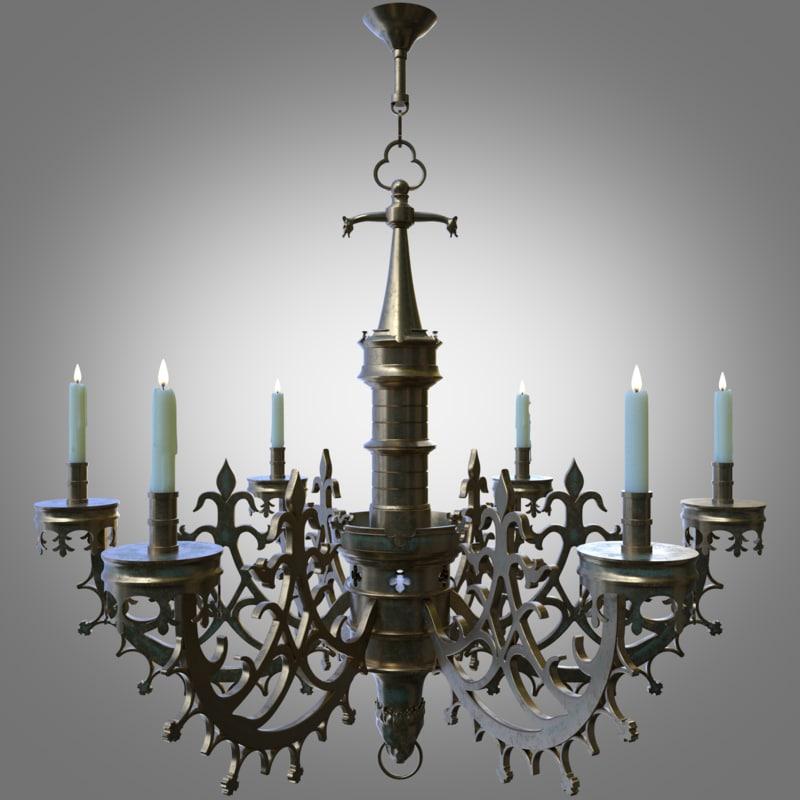 gothic chandelier arnolfini 3d model