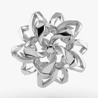 3d silver flower