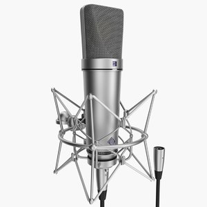 rigged microphone neumann u87 3d model