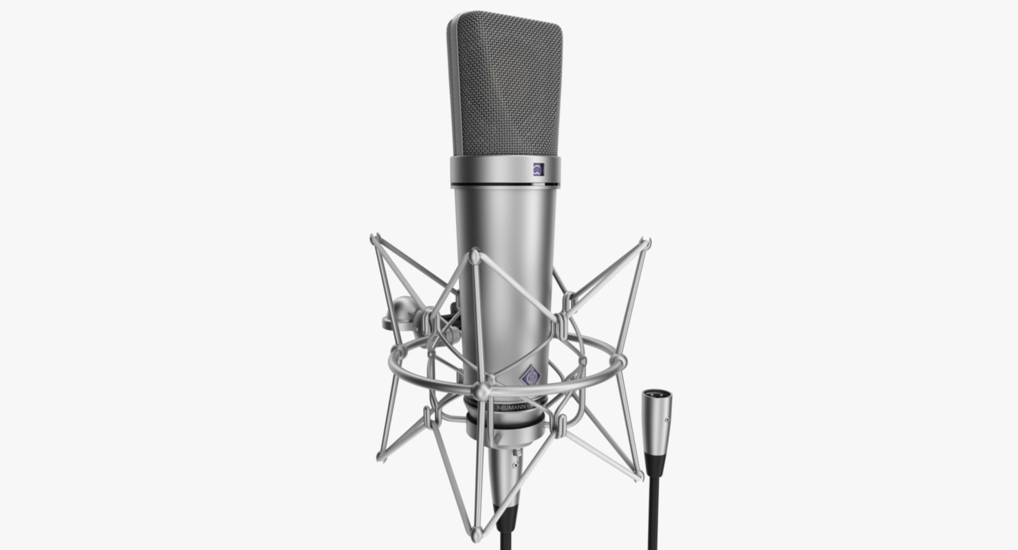 rigged microphone neumann u87 3d model