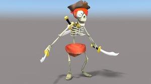 3d model cartoon pirate skeleton