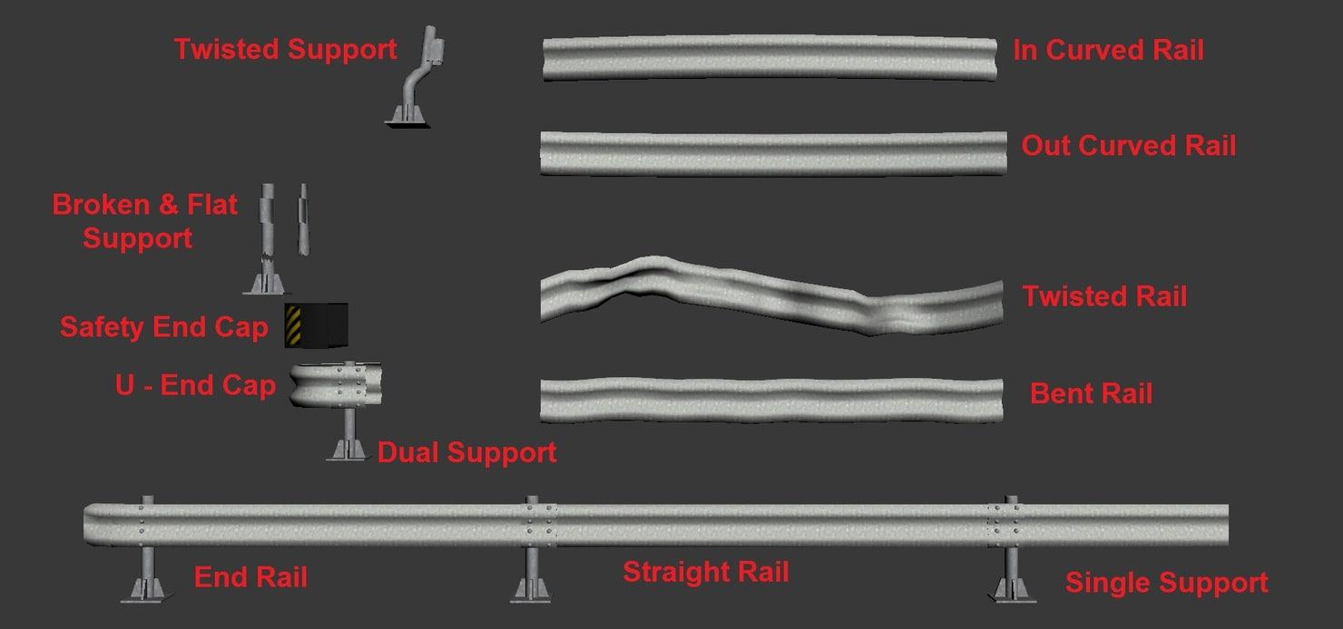 3d model road barriers