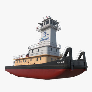 3d pushboat push boat model