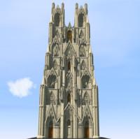 tall gothic skyscraper 3d model