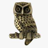 3d model vintage owl button