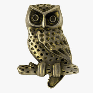 3d model vintage owl button