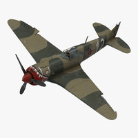 3d la-5 wwii soviet fighter aircraft
