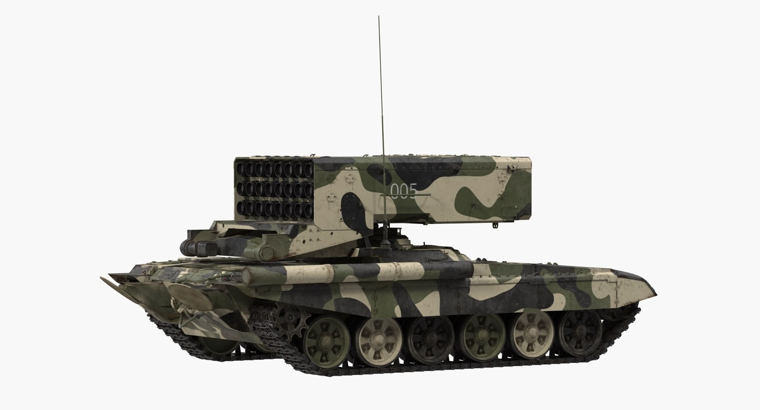 Russian 24 barrel Multiple Rocket Launcher TOS-1A Rigged