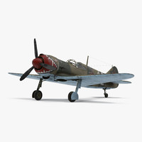 3d la-5 wwii soviet fighter aircraft model