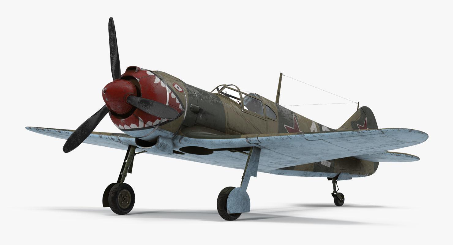 3d la-5 wwii soviet fighter aircraft model