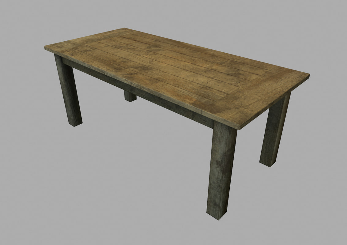 3d model of wooden table asset