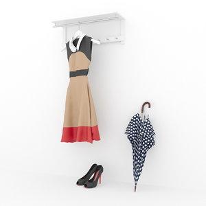 3d model umbrella dress shoes