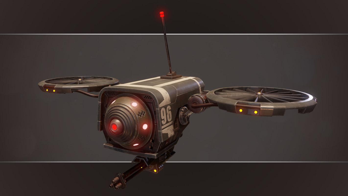 pbr sci-fi military drone 3d model