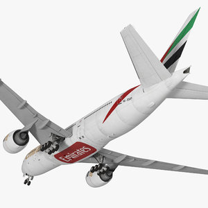 3d model of boeing 777-200 emirates airlines