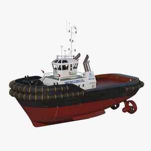 3d harbour tug boat model