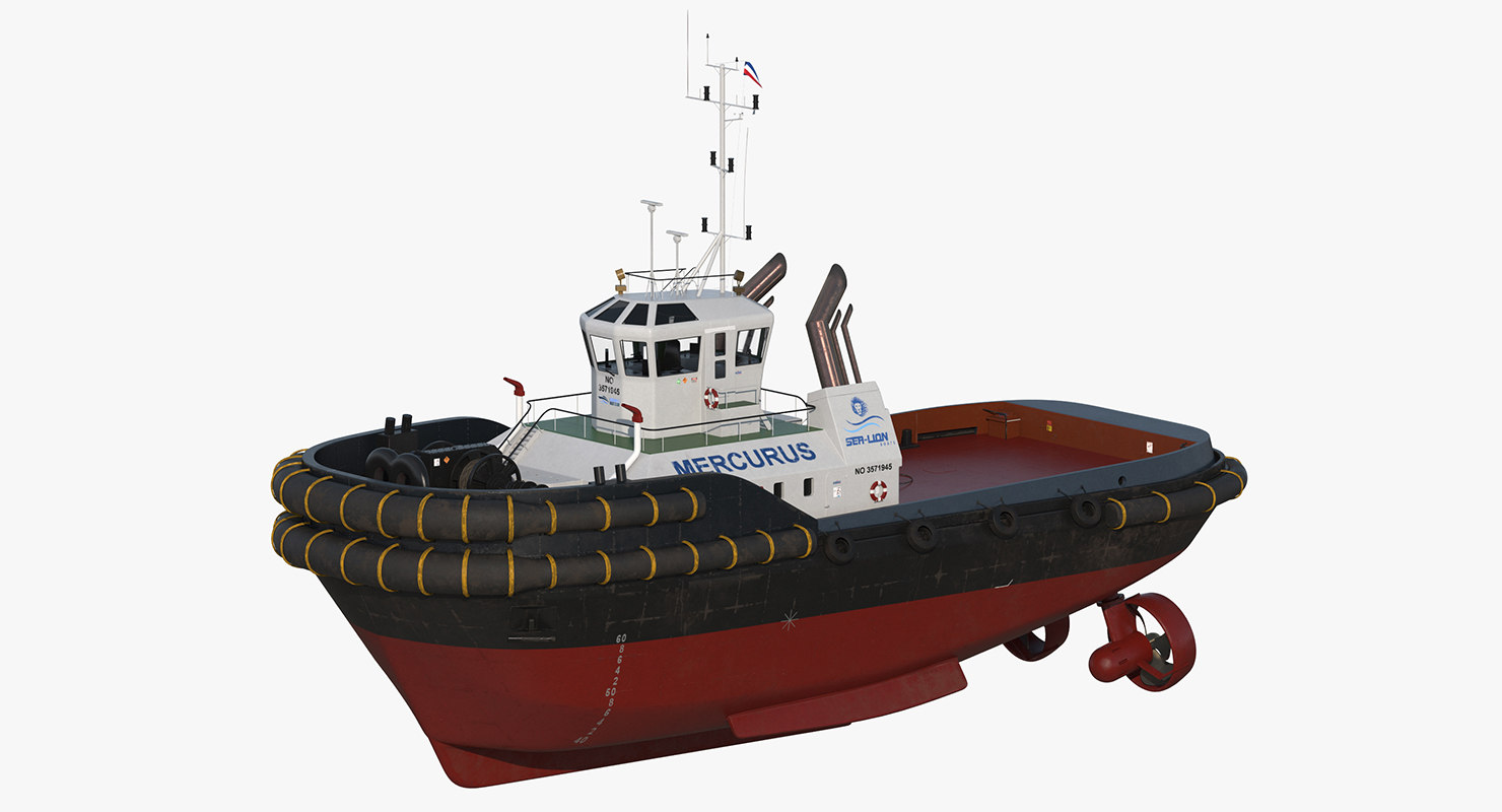 3d harbour tug boat model