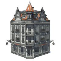 3d building european townhouse model