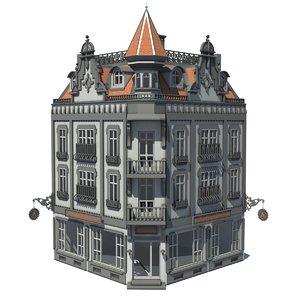3d building european townhouse model